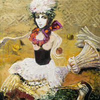 Christine Schlegel. Die Griechin 2015, Öl auf Leinwand, 100 x 100 cm