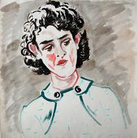 Carl Lohse. Junge Frau nach links mit grünem Kleid, undatiert, Öl auf Papier, Nachlaßstempel, 59 x 58,5 cm