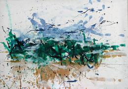 Gerda Lepke, Büsche am Wasser (Laubegaster Ufer), 1975, Öl/Leinwand, 70 x 100 cm