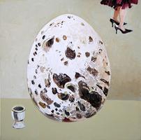 Christine Schlegel, zu groß und zu klein, 2008, Öl auf Leinwand, 100 x 100 cm
