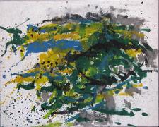 Gerda Lepke. Rasenstück am Wasser 1972 (Rügen) Öl/Lwd., 100 x 80,5 cm