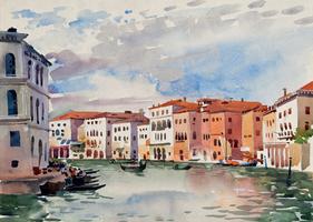 Herbert Müller. Venedig (Canale Grande) 1938, Aquarell, signiert, 25 x 35 cm