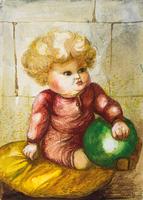 Pol Cassel, Constantin mit grünem Ball, Aquarell, signiert, 1932