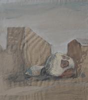 Werner Wittig, Hausgiebel und alter Apfel, 1991 Mischtechnik auf Papier, 48,5 x 42,5 cm, signiert
