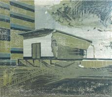 Stephanie Marx, Kraftwerk Thierbach V, 2015, Farbholzschnitt, Auflage 3/6, Stock 50 x 58 cm