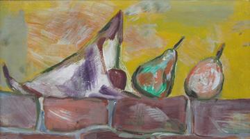 Wilhelm Lachnit. Stillleben mit Obsttüte um 1960, Mischtechnik auf Hartfaser, Nachlass-Stempel, 25 x 44 cm, gerahmt