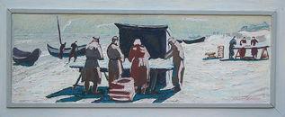 Carl Lohse, Fischerstrand, 1958, Öl/Hartfaser, sign. u. re. und verso, Nr.106,  34,5 x 100 cm, im Künstlerrahmen