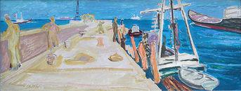 Carl Lohse, Arbeiten an der Mole, 1958, Öl/Hartfaser, sign. u. li und verso Nr.140, 38 x 88,4 cm