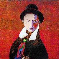 Christine Schlegel, Der Lieblingsvogel, Öl auf Leinwand, signiert, 100 x 100 cm