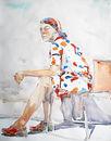 Tilo Ettl, Rothaarige, 2016, Aquarell, 64 x 50 cm