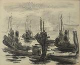 Carl Lohse, Hamburger Hafen um 1930, Tusche, Nachlassstempel, 50 x 61,4 cm