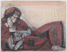 Günter Hein, Mutter und Kind, 1991/99, Mischt., Gouache, Kreide, signiert, 48 x 63 cm