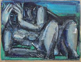 Günter Hein, Kauerndes Paar, 1997, Mischtechnik, Aquarell, Kreide, verso verworfene Farbstudie, signiert, 24,5 x 34,5 cm