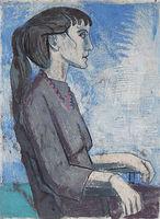 Hans Jüchser, Helga, 1956, Monotypie, signiert, Motiv 48 x 35 cm, Blatt 50 x 40,7 cm