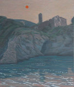 Klaus Dennhardt,  Korsika III, 2010, Pastell/Papier auf Leinwand. 155 x 130 cm