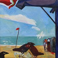 Michael Hofmann, Strandgut, 2017, Oel auf Leinwand, 50 x 50 cm