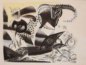 Peter Hofmann, Freunde des Poseidon, 2017, Lithografie, übermalt, Tusche, Auflage Exemplar Nr. 1/1, St. 43 x 54 cm, Bl. 47 x 62 cm