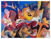 Peter Hofmann, Nächtliche Wünsche im Wüstenwind, 2018, Öl auf Leinwand, 110 x 145 cm