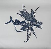 Stephanie Marx, Aquakultur, 2018,  Linolschnitt, Auflage Exemplar Nr. 7/15, Bl. 76 x 80 cm