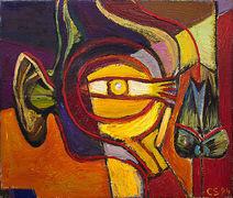 Christine Schlegel, Sehen, hören, riechen, 1984, Öl auf Leinwand, 50 x 60 cm