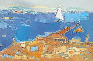 Ingo Kraft, Segel vor Poquerolles, 1998, Öl auf Leinwand, 40 x 60 cm, WZ 1075
