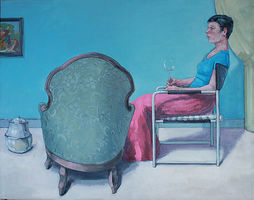 Tilo Ettl, Das Rotweinglas 2013, Öl auf Leinwand, 117 x 92 cm