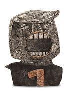 Ute Naue-Müller, Götter brauchen Menschen, 2019, weißer Steinzeugton, Porzellan, Glasur, H 57 cm