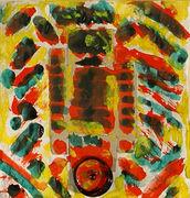 Albert Wigand, o. T., 1971, Collage, Aquarellfarben, Verschlußkappe schwarz, rot/ Papier, sign. 14,5 x 14 cm,  Foto WVZ 1953, im Objektrahmen